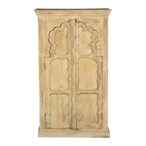 Mughal Garden Hand Carved Indian Solid Wood Double Door Cabinet