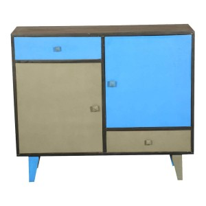 Vivid Blue & Gray Indian Mango Wood Standing Console Cabinet