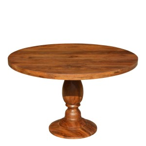 Rustic Colonial American Solid Wood Round Pedestal Dining Table Natural