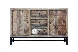 Industrial Indian Solid Mango Wood Sideboard Natural Metal legs