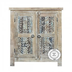 Yennora Indian Solid Wood Carved Small Cabinet Whitewash