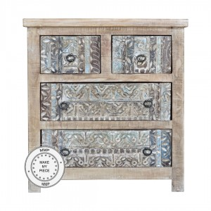 Yennora Indian Hand Carved Solid Wood Chest of Drawers Natural
