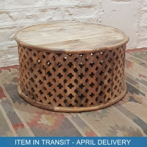 Bristol Hand Carved Indian Solid Wood Round Coffee Table Natural 80x80x40 cm B