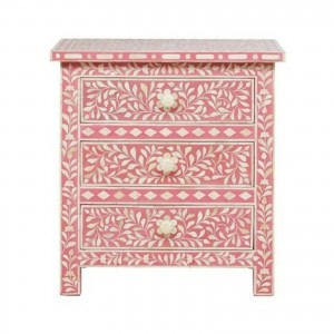 Maaya Bone inlay Pink Floral 2 drawer bedside lamp table