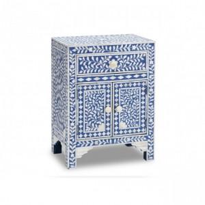 Maaya Bone inlay Floral bedside Cabinet lamp table Blue