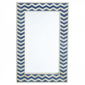 Maaya Bone Inlay Mirror Frame - Chevron Pattern Blue 60x5x90cm