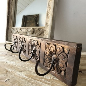 Floral Hand Carved Indian Wooden Coat Rack Wall Hanger With 4 Hooks