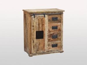 Cromer Industrial Indian Solid Wood Works Est 1-Door 4-Drawers Sideboard