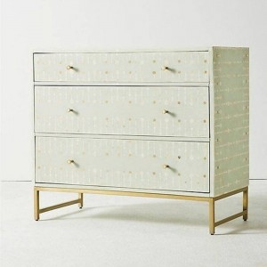 Maaya Bone Inlay Chest Of Drawer Grey White Geometric