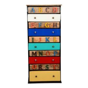 Miller Industrial  Colors ABCs Mango Wood 10 Drawer Industrial Dresser