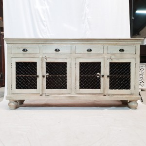 Metal Jali Black door carved Cabinet Sideboard console White rustic 194x45x101cm