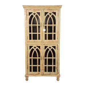 French Arched Indian Mango Wood Wardrobe Cabinet