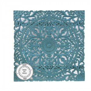 Dynasty Hand Carved Indian Solid Wood Carved Panel Bedhead Blue