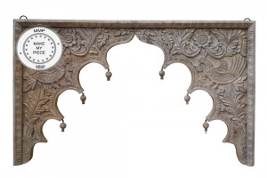 Dynasty Hand Carved Indian Wooden Arch Carved Panel Bedhead Natural