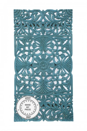 Dynasty Hand Carved Indian Solid Wood Oriental Carved Panel Blue