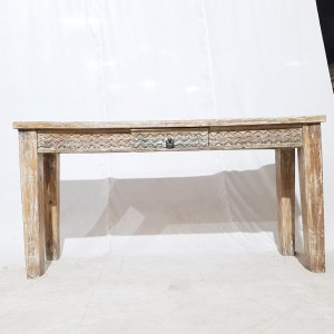 Hand Carved Shabby Chic Console Table Hall Table white wash desk with one drawer