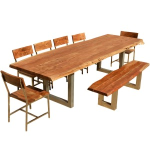 Live Edge Dining Table w 6 Chairs & Bench - Acacia Wood & Iron