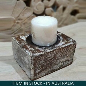 Antique Indian Wooden Tribal Seed Dispenser Wood Candle Holder White