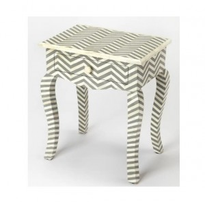 Maaya Bone Inlay Bedside Cabinet Lamp Table Grey ZigZag
