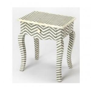 Maaya Bone Inlay Bedside Cabinet Lamp Table Grey ZigZag