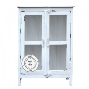 Indian Solid Wood glass door Cabinet White