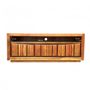 Shutter Indian Solid Wood TV Unit Natural 160 x 60 Cm