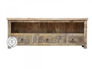 Indian Solid Wood Hand Carved TV Cabinet Natural