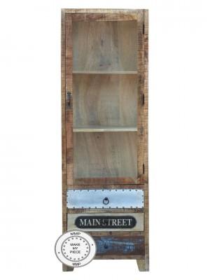 Industrial Solid Wood glass door display Cabinet Metal legs