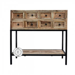 Industrial Indian Solid Wood Console Chest Of Drawers Metal Legs Natural