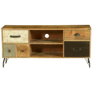 Lava Industrial Indian Solid Wood & Iron TV Console Media
