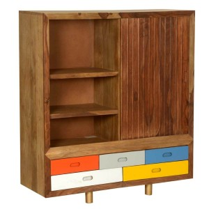 Vivid Indian Mango Wood Freestanding Cabinet w Drawers
