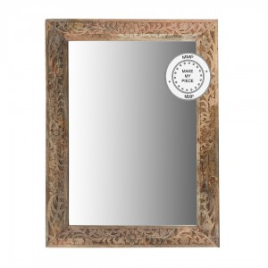 Indian Hand Carved Mirror frame Natural 60x90 cm B