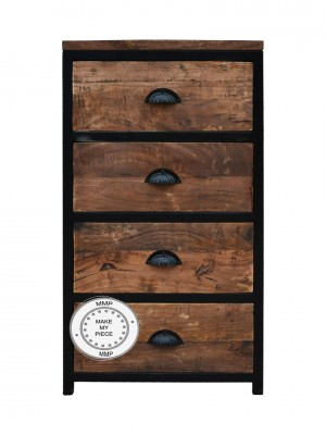 Industrial Metal Factory Indian Solid Wood Chest Of Drawers Brown