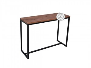 Industrial Metal Factory Indian Solid Wood Console Hall Table Brown
