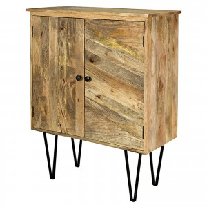 Lava Exotic Mango Wood Industrial 2 door cabinet small sideboard