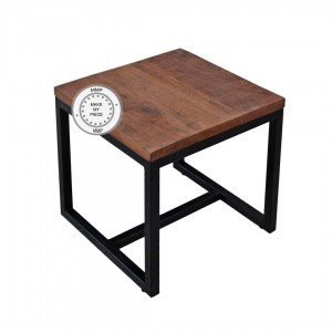 Metal Factory Indian Solid Wood Industrial Stool With Metal Brown