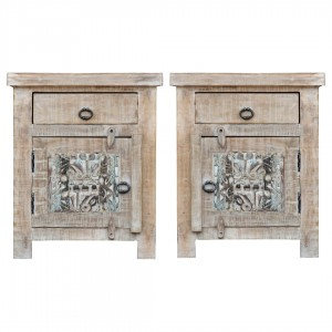 Yennora Indian Solid Wood Carved Bedside Table Set Of 2
