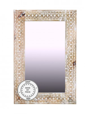 Hand Carved Indian Whitewashed Wooden Mirror Furniture