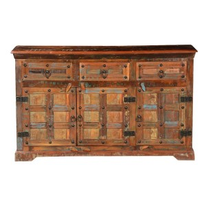 Cromer Indian Reclaimed Wood 3 Drawer Buffet Sideboard Cabinet
