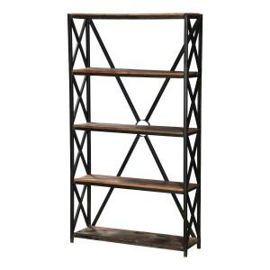 Angel Industrial X -Design 4 Open Shelf Reclaimed Wood Bookcase