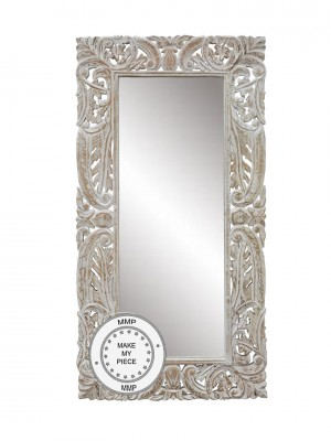 Hand Carved Mirror In a Carved Frame WHITE  75 x 150 cm