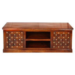 Mogra Antique Brass Work TV Cabinet Brass Work 2 Door
