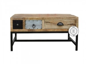 Lava Industrial Indian Solid Wood Bedside Side table Natural