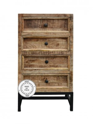 Industrial Indian Solid Wood Chest Of Drawers Metal Legs Natural