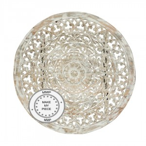 Dynasty Indian Solid Wood Round Rosette Carved Panel Bedhead Whitewash