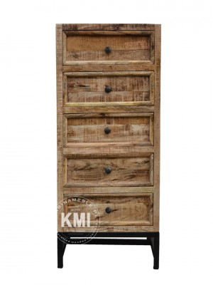 Industrial Indian Solid Wood Chest Of Drawers Metal Legs Natural B