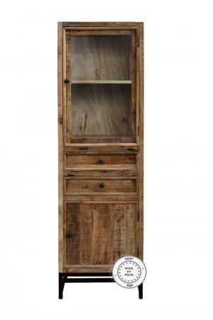 Industrial Solid Wood Cabinet glass door Metal legs