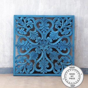 Dynasty Hand Carved Indian Solid Wood Wall Decorative Carved Panel Blue