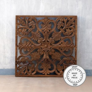 Dynasty Hand Carved Indian Solid Wood Wall Decorative Carved Panel Brown