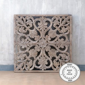 Dynasty Hand Carved Indian Solid Wood Wall Decorative Carved Panel Natural